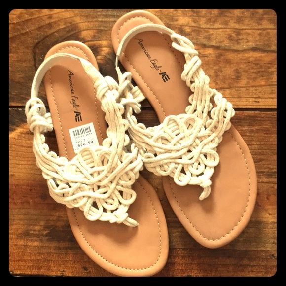 5976a2f13cd912 New crochet boho sandals cream white flat bohemian. Boutique. American Eagle  By Payless